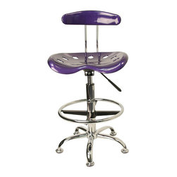 Flash Furniture - Flash Furniture Vibrant Drafting Stool Seat in Violet and Chrome - Flash Furniture - Drafting Chairs - LF215VIOLETGG - Quality chair at an amazingly affordable price! This sleek modern stool conforms to several areas in the home or office. The molded tractor seat offers great comfort. The height adjustable capability of this stool allows you to use the stool at the dining table and bar table and anywhere in between. [LF-215-VIOLET-GG]