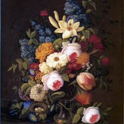 """Severin Roesen Floral Still Life with Nest of Eggs - 16"""" x 20"""" Premium Archival - 16"""" x 20"""" Severin Roesen Floral Still Life with Nest of Eggs premium archival print reproduced to meet museum quality standards. Our museum quality archival prints are produced using high-precision print technology for a more accurate reproduction printed on high quality, heavyweight matte presentation paper with fade-resistant, archival inks. Our progressive business model allows us to offer works of art to you at the best wholesale pricing, significantly less than art gallery prices, affordable to all. This line of artwork is produced with extra white border space (if you choose to have it framed, for your framer to work with to frame properly or utilize a larger mat and/or frame).  We present a comprehensive collection of exceptional art reproductions bySeverin Roesen."""