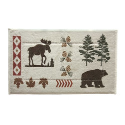 Bacova - Bacova North Ridge Bath Rug - 50526Y - Shop for Mats and Rugs from Hayneedle.com! It may be inspired by the wintry north but the Bacova North Ridge Bath Rug will warm your feet (and your bathroom decor) with its rustic animal-themed pattern and earth tones. This cotton-tufted rug is fully machine washable and features a heat-transferred print for better wear and style.About Bacova The Bacova Guild has become one of the largest producers of printed accent rugs floor mats and bathroom ensembles offering more than 30 distinct product lines with around 3 000 unique items. Located in Covington Virginia Bacova is a wholly owned subsidiary of Ronile Incorporated. They continue to serve a diverse customer base by setting the standard with fresh and innovative fashions exhibited in their annual offerings of hundreds of new designs. With their reach stretching well beyond the borders of the United States Bacova has a worldly outlook to meet the needs of an ever-changing marketplace. In spite of their rapid growth over the last decade Bacova remains committed to a standard of style and quality that can't be matched.