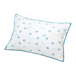 Auggie - Felix Pillow Cover - Woof Woof! With its playful imagery and peaceful palette, our Felix pillow is a fun addition to any nursery.