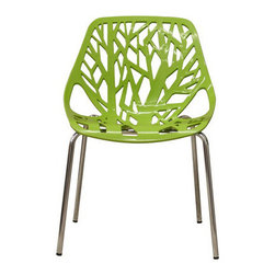 Baxton Studio - Forest Green Plastic Modern Dining Chair (set of 2) - This set of two forest chairs lends a modern touch of the beauty of a small grove of trees to your home. The intricate cut-out design is ideal around a minimalist dining table or simply as standalone chairs in an entryway or extra room. It is constructed with a sturdy spring green molded plastic seat atop a steel frame with a shiny silver chrome finish. Black non-marking feet finish off these chairs. This chair is also available in white, black or red.
