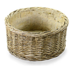 Cement Basket - Twined Weave - Round Wide - Low and wide to accommodate a more complex arrangement of indoor plants or to present more surfaces of a decorative filler, the Cement Twined Weave Basket endures the elements with English country-house grace to spare. Though basketry is welcome in any style, the crisp texture and stony hue of this particular specimen is perfect on the formal patio or relaxed console.