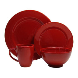 Waechtersbach - Waechtersbach Fun Factory Red 16-piece Dinnerware Set - Bring contemporary style to your table with the Fun Factory Red 16-piece Place Setting. Combining clean lines with solid color,this casual dinnerware set was created with everyday meals in mind.