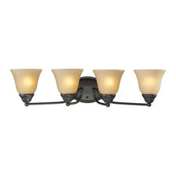 Z-Lite - Z-Lite 2114-4V Athena 4 Light Bathroom Vanity Light - A classic bronze finish joined with warm amber-tea stained shades make this four light vanity fixture a tasteful addition to any home.Specifications: