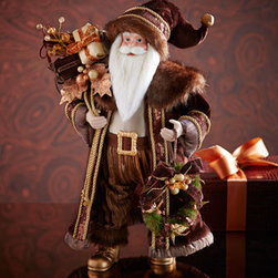 """Horchow - Chocolate, Copper, and Gold Santa - Exclusively ours. Decked out in an ornate chocolate, copper, and gold suit, Santa arrives with his bags of goodies to bring holiday cheer to your home. Made of polyester and polyresin. 12""""W x 8""""D x 18.5""""T. Imported."""