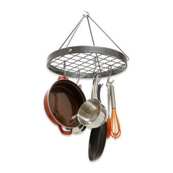 Enclume - Enclume Dr-14 Decor Collection Cottage Round Pot Rack Hammered Steel Finish - ENCLUME DR-14 DÉCOR COLLECTION COTTAGE ROUND POT RACK HS FINISH