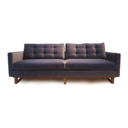 Cliff Young Ltd. - Astoria Sofa - An anniversary piece combining original upholstery design by Milo Baughman with a hand-carved walnut frame of Cliff Young design, this graceful and comfortable sofa is a one-of-a-kind.