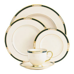 Lenox - Lenox Hancock 5-piece Dinnerware Place Setting - This Lenox Hancock 5-piece place setting brings beauty and dignity to every dining experience in your home. Crafted of ivory fine china,a rich gold band encircles a pattern of tailored,sophisticated beauty.