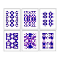 Studio D&K - Set of 6 Prints in Indigo Blue, Purple, and Lavender - Set of Six 8x10 Abstract Prints