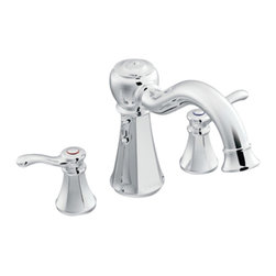 """Moen - Moen T932 Chrome Roman Tub Trim 8""""-16"""" Two Lever Handles, ADA - Moen T932 is part of the Vestige bath collection. Moen T932 has a Chrome finish. Moen T932 is a roman tub trim 3-hole 8"""" - 16"""" installation. Roman Tub faucet is a deck-mount with 9"""" long and 8 1/4"""" high arc spout for conventional styling. Moen T932 Roman Tub Trim fits the MPact common valve system, and requires Moen's 4992 or 4993 valve. Valve sold separately. Moen T932 is approved by ADA. Chrome is a proven finish from Moen and provides style and durability. Moen T932 metal lever handle meets all requirements ofADA ICC/ANSI A117.1 and CSA B-125, ASME A112.18.1M. Lifetime Limited Warranty and 5 Year commercial."""
