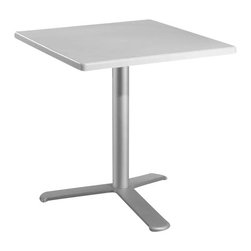 Euromobilia - Euromobilia 24 Inch Square White Top Dining Table - Outdoor/ indoor techno table. Polymer top. Anodized aluminum column and heavy duty metal base covered and sealed in techno polymer. Made in Italy.