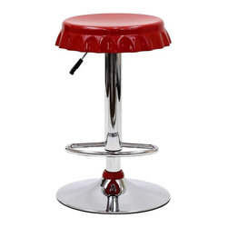 Modway - Soda Bar Stool in Red - The Soda Bottle Bar Stool is sure to draw praise. What a delight to sit on such a fun piece of furniture. Add an air of levity to any room with the Soda Bottle Bar Stool.