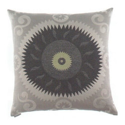 "Canaan - 24"" x 24"" Essence Circle Gear Shape Design Print Pattern Fabric Throw Pillow - 24"" x 24"" Essence circle gear shape design print pattern fabric throw pillow with a feather/down insert and zippered removable cover. These pillows feature a zippered removable 24"" x 24"" cover with a feather/down insert. Measures 24"" x 24"". These are custom made in the U.S.A and take 4-6 weeks lead time for production."