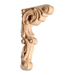 "Inviting Home - Vienna Medium Wood Bracket - Cherry - wood bracket in cherry 10-7/8""H x 6-3/8""D x 1-1/2""W Corbels and wood brackets are hand carved by skilled craftsman in deep relief. They are made from premium selected North American hardwoods such as alder beech cherry hard maple red oak and white oak. Corbels and wood brackets are also available in multiple sizes to fit your needs. All are triple sanded and ready to accept stain or paint and come with metal inserts installed on the back for easy installation. Corbels and wood brackets are perfect for additional support to countertops shelves and fireplace mantels as well as trim work and furniture applications."