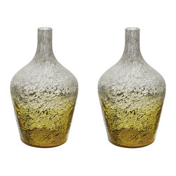 Lazy Susan - Lemon Ombre Bottle, Set Of 2 - This Set Of 2 Lemon Ombre Bottles Are Each Mouth Blown By A Skilled Craftsman Using Traditional Tecniques. Years Of Training Is Required Before A Craftsman Can Blow Larger Pieces. The Ombre Finish Is Hand Applied After The Glass Has Cooled And Then Delicate Silver Leaf Is Added To The Inside To Give Added Depth And Interest To The Finish.