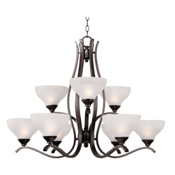 Contour-Multi-Tier Chandelier - Sleek modern form available in your choice of Oil Rubbed Bronze or Satin Nickel finish. The Frost glass shade gently melds into the flowing lines of the frame.