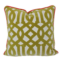 The Pillow Studio - Chartreuse Velvet Trellis Pillow Cover with Piping-- Fabric on Both Sides - I LOVE this pattern!! And, the fact that it is a chartreuse velvet only adds to my infatuation. This pillow was piped in red to coordinate with other pillows but you could pipe it any color (or none at all).