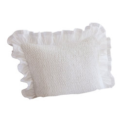 Taylor Linens - Smocked White Pillow - Indulge your girly side. This flirty throw pillow is artfully smocked for soft, supple texture, then framed with a border of frilly ruffles and filled with goose feathers and down, for undeniable softness.