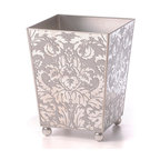 Mirror Wastebasket, Damask Silver - Practicality rejuvenated with beauty makes this reflective wastebasket a must-have for the study, bath or boudoir. Softly antiqued, the mirror panels blend seamlessly with transitional decor while adding a touch of understated glamour. Furniture-style ball feet present a slightly-elevated look. Rich silver piping on the edges and a silver-misted interior transform a utilitarian piece into an object of elegance.