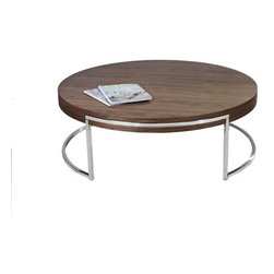 Pangea Home - Leah Coffee Table - Round coffee table with uniquely placed high polished metal legs. Features: -Wood veneer and high gloss lacquer.-High polished metal legs.-Leah collection.-Collection: Leah.-Style: Modern.-Base Finish: High polished metal.-Distressed: No.-Powder Coated Finish: No.-Gloss Finish (Finish: Walnut): No.-Gloss Finish (Finish: White): Yes.-Wrought Iron: No.-Top Material: Manufactured Wood.-Base Material: High polished metal.-Base Type: Legs.-Solid Wood Construction: No.-Reclaimed Wood: No.-Design: Table.-Drop Leaf: No.-Shape: Circle.-Lift Top: No.-Tray Top: No.-Storage Under Tabletop: No.-Folding: No.-Magazine Rack: No.-Built In Clock: No.-Powered: No.-Nested Stools Included: No.-Legs Included: Yes -Number of Legs: 2..-Casters: No.-Exterior Shelves: No.-Cabinets Included: No.-Drawers Included: No.-Corner Block: No.-Cable Management: No.-Adjustable Height: No.-Glass Component: No.-Upholstered: No.-Outdoor Use: No.-Swatch Available: No.-Commercial Use: Yes.-Recycled Content: No.-Eco-Friendly: No.-Product Care: Wipe with damp cloth.Dimensions: -Overall Height - Top to Bottom: 15.-Overall Width - Side to Side: 43.-Overall Depth - Front to Back: 43.-Width When Fully Extended: No.-Table Top Width - Side to Side: 43.-Table Top Depth - Front to Back: 43.-Legs: Yes.-Overall Product Weight: 62.Assembly: -Assembly Required: Yes.-Additional Parts Required: No.