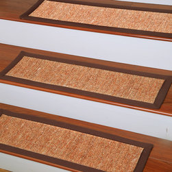 None - Handcrafted Origins Natural Fiber Sisal 9 x 29 Carpet Stair Treads (Set of 13) - This handcrafted natural sisal rug with a cotton border is an Earth friendly way to tie any room together. The durable and anti-static rug is great for high traffic areas because it protects your stairs from wear and tear.