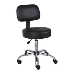 "Boss Chairs - Boss Chairs Boss Black Caressoft Medical Stool w/ Back Cushion - Ergonomic design emulates the natural shape of the spine to increase comfort and productivity. Upholstered in durable Caressoft vinyl for easy maintenance and cleaning. Adjustable seat height with a 6"" vertical height range. Dual wheel casters allow for easy movement. Attractive chrome finish on the base and gas lift."