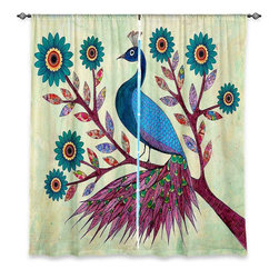 "DiaNoche Designs - Window Curtains Unlined - Sascalia Blue Peacock - DiaNoche Designs works with artists from around the world to print their stunning works to many unique home decor items.  Purchasing window curtains just got easier and better! Create a designer look to any of your living spaces with our decorative and unique ""Unlined Window Curtains."" Perfect for the living room, dining room or bedroom, these artistic curtains are an easy and inexpensive way to add color and style when decorating your home.  The art is printed to a polyester fabric that softly filters outside light and creates a privacy barrier.  Watch the art brighten in the sunlight!  Each package includes two easy-to-hang, 3 inch diameter pole-pocket curtain panels.  The width listed is the total measurement of the two panels.  Curtain rod sold separately. Easy care, machine wash cold, tumble dry low, iron low if needed.  Printed in the USA."