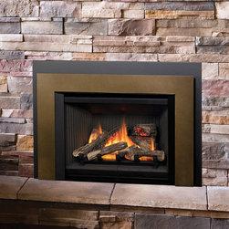Legend G3.5 Insert Series Fireplace - Legend G3.5 with Log Set (702LSK), Fluted Black Liner (707FBL), Bronze Floating Trim Kit (709FTZ) & Black Backing Plate (710BPB)