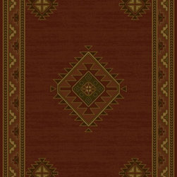 """United Weavers - Southwestern/Lodge Genesis 7'10""""x10'6"""" Rectangle burgundy Area Rug - The Genesis area rug Collection offers an affordable assortment of Southwestern/Lodge stylings. Genesis features a blend of natural burgundy color. Machine Made of Heatset Olefin the Genesis Collection is an intriguing compliment to any decor."""