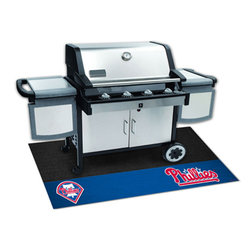 Fan Mats - MLB Philadelphia Phillies Grill Rectangular: 3 Ft. 5 In. x 2 Ft. 1 In. Mat - - Protect your deck or patio while displaying your favorite team! These 100% Vinyl Grill Mats are a universal fit to most grills, prevents spills from soaking in and staining, and cleans up easily with a garden hose. Fan Mats - 12164