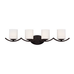 Eurofase Lighting - Beam Oil Rubbed Bronze Four Light Bath Fixture with White Shade - - 4 Light Bathbar  - Oil Rubbed Bronze Finish  - Bulb Included  - White Shade Eurofase Lighting - 23057-036