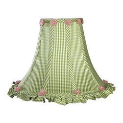 Jubilee Collection - Large Shade - Ruffled Edge - Green Check - Material: silk, metal. 5 x 12 x 9 in.