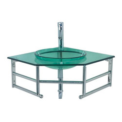 Renovators Supply - Vienna Green Glass Corner Sink With Faucet - Renovator��_��__��_s Supply Corner Sinks. Bring big style to your smaller bathroom spaces. We've taken our popular sinks and given them a modern stainless steel wall bracket. Now even challenging bathroom spaces can have all the charm of a glass wall-mount sink. Includes our single lever faucet constructed of solid brass, chrome-plating finish, and has a top rated 500,000 cycle cartridge.  Faucet measures 7 inches high and comes with supply lines and mounting hardware. Vienna package includes single hole chrome lever faucet, pop-up drain and p-trap.
