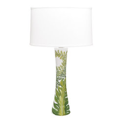Painted Palms Lamp - This striking table lamp is part Italian, part tropical, and a bit Dorothy Draper dresses the Greenbrier.