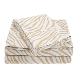 "Microfiber 1800 Animal Print Sheet Set - Twin - White - These Microfiber Sheets offer an affordable alternative to high thread count Egyptian Cotton sheets. Microfibers are 100 times thinner than a strand of hair making the weave impenetrable to allergens and dust mites. This Sheet set features a lively circle pattern to brighten up your bedroom. Set includes: (1) Flat 66""x96"", (1) Fitted 39""x75"", and (2) Pillowcases 20x30""."