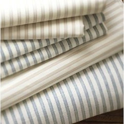 Vintage Ticking Stripe Sheet Set, Cal. King, Blue - Vintage linen men's shirts have a texture that's crisp and comfortable, elegant and relaxed. We've replicated their appeal in this sheet set, woven from pure cotton for appealing softness and subtle luster. Woven of pure cotton. 200-thread count. Set includes flat sheet, fitted sheet and two pillowcases (one with twin). Monogramming is available at an additional charge. Monogram will be centered along the border of the pillowcase and the flat sheet. Machine wash. Catalog / Internet Only. Imported.