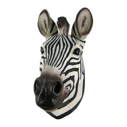 Zeckos - African Zebra Head Mount Wall Statue Mini-Bust 9.25 In. - This awesome, cold cast resin replica African Zebra mini-wall mount is a perfect addition to any jungle themed room. The head measures 9 1/4 inches tall, 5 inches wide and 4 inches deep. The detail is incredible, down to the hand painted eyes. This small sized zebra's head is Brand New, and makes a great gift for any zebra fan.