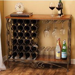 "Scrolled Metal Bottle Bar - Dimensions: 38.25"" w x 14"" d x 31.75"" h"