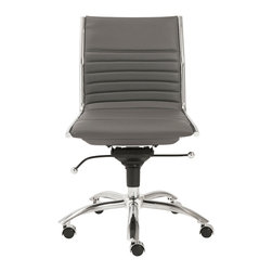 Euro Style - Dirk Low Back Office Chair W/O Arms - Gray/Chrome - High or low. Armrests or not, the Dirk design is very popular for all the right reasons. The front of the seat and the top of the back are one-piece sections for a finished look. The inner seat and lower back are flat bungee bands which offer outstanding comfort that is famous everywhere in the known world.