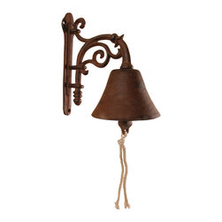 Esschert Design - Flower Design Cast Iron Doorbell - Old-fashioned hospitality found its way to your front door with this antique-inspired doorbell. Your guests are greeted with a real bell to ring using a cotton pull-string that adds charm and whimsy to your home.