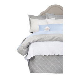 Glenna Jean - Starlight Reversible Grey Embroidery and Blue Gingham Children's Duvet Twin - The Starlight Reversible Grey Embroidery and Blue Gingham Children's Duvet by Glenna Jean will look great in any child's room.