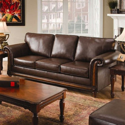 Simmons Upholstery - Franklin Bonded Leather Sofa in San Diego Coffee - 8001S - Franklin collection