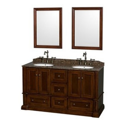 "Wyndham Collection(R) - Rochester 60"" Double Bathroom Vanity by Wyndham Collection - Cherry - The Wyndham Collection is an entirely unique and innovative bath line. Sure to inspire imitators, the original Wyndham Collection sets new standards for design and construction.Old world charm meets modern functionality with the Rochester line of traditional bathroom vanities. Designed to look great in any setting, from modest country home to palatial estate, the Rochester vanities will revive and renew your personal sanctuary. Natural stone tops give a touch of additional luxury and the antique bronze hardware adds the finishing touch. The down-to-the-floor base imparts a sense of weight and grandeur, while ample cupboard and drawer storage ensures the quality and practicality that the Wyndham Collection is known for.Rochester Bathroom Vanities are available here in multiple sizes!FeaturesConstructed of beautiful veneers over the highest grade MDF, engineered for durability to prevent warping and last a lifetime8-stage preparation, veneering and finishing processHighly water-resistant low V.O.C. sealed finishTraditional styling for that classic lookPractical Floor-Standing DesignMinimal assembly requiredDeep Doweled DrawersSide Mounted Drawer SlidesConcealed soft-close door hingesCounter options include Ivory Marble, White Carrera Marble, Baltic Brown Granite Includes 3"" backsplashAvailable with Porcelain undermount sink(s)Oval sink(s) available with pre-drilled 8"" Widespread 3-Hole faucet mounts8"" widespread 3-hole faucet mountFaucet(s) not includedMatching mirror(s) optionalMetal exterior hardware with antique bronze finishFour (4) functional doorsFive (5) functional drawersPlenty of storage space Plenty of counter space Variations in the shading and grain of our natural stone products enhance the individuality of your vanity and ensure that it will be truly uniqueHow to handle your counterSpec Sheet Vanity Installation GuideSpec Sheet for Mirror Natural stone like marble and granite, while otherwise durable, are vulnerable to staining from hair dye, ink, tea, coffee, oily materials such as hand cream or milk, and can be etched by acidic substances such as alcohol and soft drinks. Please protect your countertop and/or sink by avoiding contact with these substances. For more information, please review our ""Marble & Granite Care"" guide."