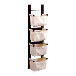 Winsome Wood - Hanging Magazine Rack w Canvas Baskets - Stay organized and keep floor space clear with this canvas and wood magazine rack. Perfect for storing not only magazines, but all that assorted clutter, this can keep your home or office tidy and neat. Versatile design allows this to hang vertically or horizontally, making it easy to find just the right spot for this practical organizer. Organize in style with this attractive wall hanging that fits vertically or horizontally depending on your space. This magazine rack boasts four canvas compartments on an espresso finished wood frame. * Four Natural Canvas basketsDark Espresso finishHigh quality metal fixtures44 in. x 12 in. x 7 in.Basket Dimensions: 10.30 in. W x 5.90 in. D x 5.50 in. HBasket Weight Capacity: 8 lbs