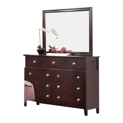 Coaster - Coaster Albright 9 Drawer Dresser and Mirror Set in Cherry Finish - Coaster - Dressers - 202653202654PKG