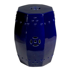 Belle & June - Octagonal Cobalt Blue Garden Stool - Cobalt blue is a simple yet extravagant way to light up your space. And this garden stool will delight your eye every time you see it. Try it in your entryway for an instant lift the moment you open your door.