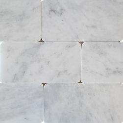 Scabos Tile - Carrara White Marble 3x6 - Carrara White polished marble round corner subway tile 3x6