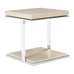 Zuri Furniture - Getz High Gloss Beige and Chrome Side Table - With its clean, minimalistic cube design, the two-tiered Getz contemporary side table features high gloss taupe lacquer and chrome finish. Perfect for a simple and tasteful living space.