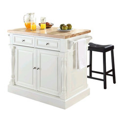 Crosley Furniture - Crosley Oxford Butcher Block Top Kitchen Island with Stools in White - Crosley Furniture - Kitchen Carts - KF300064WH