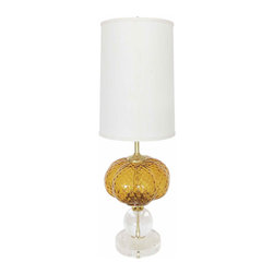 Gold Urchin Glass on Crystal Base - Vintage Italian Glass Lamp completely restored on new Lucite and crystal ball base with brass hardware, custom silk drum shade and glass ball finial.